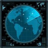 Μπλε οθόνη ραντάρ με τα αεροπλάνα και τον παγκόσμιο χάρτη ελεύθερη απεικόνιση δικαιώματος