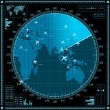 Μπλε οθόνη ραντάρ με τα αεροπλάνα και τον παγκόσμιο χάρτη απεικόνιση αποθεμάτων