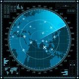 Μπλε οθόνη ραντάρ με τα αεροπλάνα και τον παγκόσμιο χάρτη διανυσματική απεικόνιση