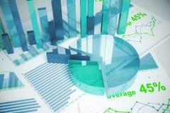 Μπλε οικονομικά διαγράμματα Στοκ φωτογραφία με δικαίωμα ελεύθερης χρήσης