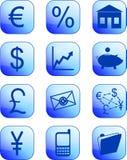 Μπλε οικονομικά κουμπιά και εικονίδια Στοκ Φωτογραφίες