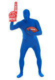 Μπλε: Οπαδός ποδοσφαίρου με το δάχτυλο αφρού Στοκ φωτογραφίες με δικαίωμα ελεύθερης χρήσης