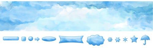 Μπλε ουρανός και κουμπιά εμβλημάτων Ιστού Watercolor διανυσματική απεικόνιση