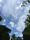 Μπλε ουρανός και στροβιλιμένος άσπρα σύννεφα Στοκ φωτογραφία με δικαίωμα ελεύθερης χρήσης