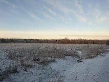 Μπλε ουρανός πέρα από το χιονώδη τομέα Στοκ Εικόνες