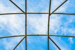 Μπλε ουρανός που αντιμετωπίζεται μέσω γυμνό trellis Στοκ Εικόνες