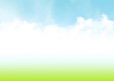 Μπλε ουρανός, σύννεφα και πράσινο θερινό υπόβαθρο τομέων διανυσματική απεικόνιση