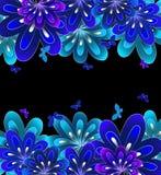 Μπλε λουλουδιών στο μαύρο υπόβαθρο. Διάνυσμα Στοκ Εικόνα