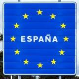 Μπλε οδικό σημάδι με τα κίτρινα αστέρια Ισπανία Στοκ εικόνα με δικαίωμα ελεύθερης χρήσης