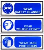Μπλε πίνακας σήμανσης ασφάλειας Στοκ Φωτογραφία
