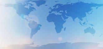 Μπλε παγκόσμιος χάρτης στη θολωμένη περίληψη ουρανού υποβάθρου Στοκ Φωτογραφία