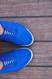 Μπλε, παπούτσια, πάνινα παπούτσια, Στοκ Εικόνες
