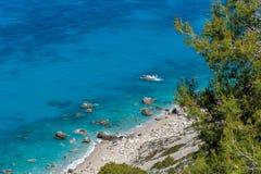 Μπλε παραλίες γύρω από το χωριό του Άγιου Νικήτας Στοκ φωτογραφία με δικαίωμα ελεύθερης χρήσης