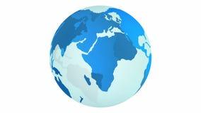 Μπλε περιστροφή πλανήτη Γη που απομονώνεται στο άσπρο υπόβαθρο διανυσματική απεικόνιση