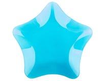 Μπλε πιάτο γυαλιού στη μορφή του αστεριού που απομονώνεται στο λευκό Στοκ φωτογραφίες με δικαίωμα ελεύθερης χρήσης