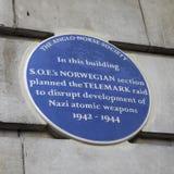 Μπλε πινακίδα επιδρομής Telemark στο Λονδίνο Στοκ Εικόνα