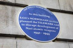 Μπλε πινακίδα επιδρομής Telemark στο Λονδίνο Στοκ φωτογραφίες με δικαίωμα ελεύθερης χρήσης