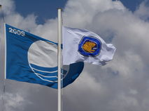 Μπλε πιστοποίηση σημαιών Στοκ εικόνες με δικαίωμα ελεύθερης χρήσης