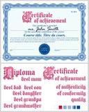 μπλε πιστοποιητικό Αραβούργημα Πρότυπο οριζόντιος Στοκ εικόνες με δικαίωμα ελεύθερης χρήσης