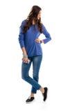 μπλε πουλόβερ κοριτσιών Στοκ φωτογραφία με δικαίωμα ελεύθερης χρήσης