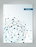 Μπλε πρότυπο σχεδίου κάλυψης φυλλάδιων με το αφηρημένο υπόβαθρο έννοιας σύνδεσης δικτύων Στοκ Εικόνες