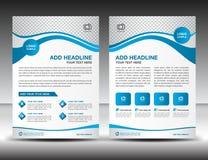 Μπλε πρότυπο σχεδιαγράμματος σχεδίου ιπτάμενων επιχειρησιακών φυλλάδιων A4 στο μέγεθος, ελεύθερη απεικόνιση δικαιώματος