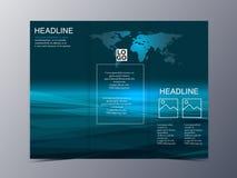 Μπλε πρότυπο φυλλάδιων ύφους τεχνολογίας γεωμετρικό γραφικό