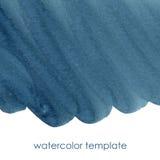 Μπλε πρότυπο watercolor θάλασσας Στοκ Φωτογραφία