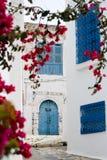 Μπλε πόρτες, παράθυρο και άσπρος τοίχος να ενσωματώσει Sidi Bou εν λόγω στοκ εικόνα