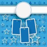 Μπλε πώληση αυτοκόλλητων ετικεττών τιμών Χριστουγέννων εμβλημάτων Στοκ Φωτογραφίες
