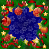 μπλε πλαίσιο Χριστουγέν&nu Στεφάνι του FIR, διακοσμήσεις, μπαλόνια, κορδέλλες Στοκ φωτογραφίες με δικαίωμα ελεύθερης χρήσης