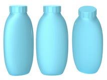 Μπλε πλαστική συσκευασία μπουκαλιών με το ψαλίδισμα της πορείας για το cosmatics α Στοκ Εικόνες