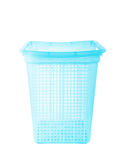 Μπλε πλαστικό καλάθι στο λευκό Στοκ Φωτογραφία