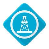 Μπλε πλατφόρμα άντλησης πετρελαίου εικονιδίων με τη μακριά σκιά Στοκ Φωτογραφίες