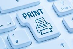 Μπλε πληκτρολόγιο υπολογιστών εκτυπωτών εκτύπωσης κουμπιών τυπωμένων υλών ώθησης Στοκ Εικόνα