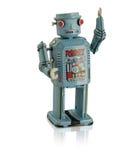 Μπλε ρομπότ που κυματίζει με την αντανάκλαση που απομονώνεται Στοκ Φωτογραφία