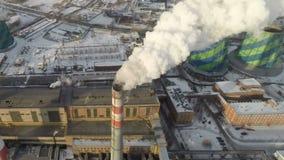 μπλε ρύπανση εργοστασίων ανασκόπησης αέρα _ απόθεμα βίντεο