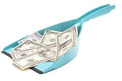Μπλε σέσουλα και δολάρια Στοκ Εικόνες