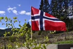μπλε σημαία που γίνεται το νορβηγικό κόκκινο διανυσματικό λευκό Στοκ φωτογραφίες με δικαίωμα ελεύθερης χρήσης