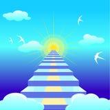 Μπλε σκάλα που οδηγεί στον ήλιο αύξησης διανυσματικό illustation ελεύθερη απεικόνιση δικαιώματος