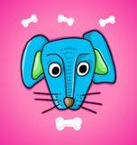 Μπλε σκυλί και κόκκαλα απεικόνιση αποθεμάτων