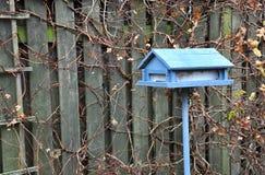 Μπλε σπίτι-διαμορφωμένος τροφοδότης πουλιών στοκ φωτογραφία