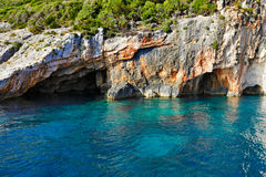 Μπλε σπηλιές στο νησί της Ζάκυνθου, Ελλάδα Στοκ Εικόνες
