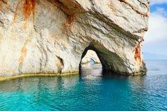 Μπλε σπηλιές στο νησί της Ζάκυνθου, Ελλάδα Στοκ Φωτογραφία