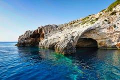 Μπλε σπηλιές στο νησί της Ζάκυνθου, Ελλάδα Στοκ εικόνες με δικαίωμα ελεύθερης χρήσης