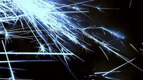 Μπλε σπινθήρες που πυροβολούν πέρα από το πλαίσιο απόθεμα βίντεο