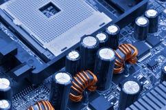 μπλε στενή μητρική κάρτα υπολογιστών χρώματος επάνω Στοκ Φωτογραφίες