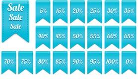Μπλε στοιχεία ετικετών έκπτωσης κορδελλών καθορισμένα Στοκ Εικόνες