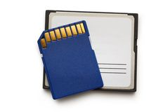 Μπλε συμπαγείς κάρτες μνήμης Στοκ Εικόνα
