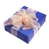 Μπλε συσκευασία δώρων Χριστουγέννων Στοκ Εικόνες